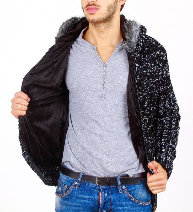 Ανδρικό πλεκτό μπουφάν με κουκούλα μαύρο -συνθετική γούνα-κούμπωμα με φερμουάρ -δέρμα-look μπάλωμα στα μανίκια-ανοιχτές προστινές τσέπες 90% acrylic 10% woo