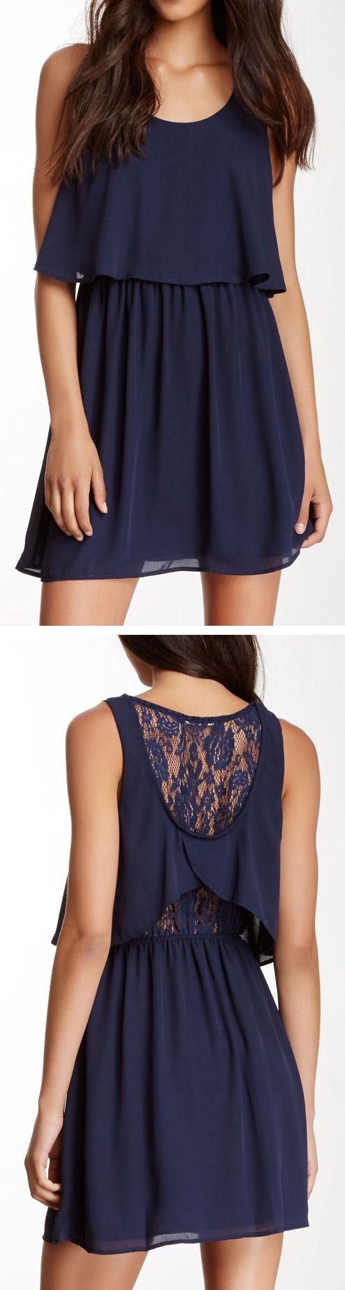 Navy Lace Back Popover Dress