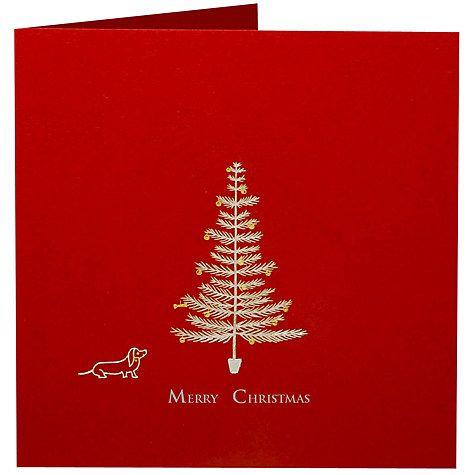 Buy Julie Bell Stationery Sausage Dog & Tree Christmas Card, Pack of 5, Red Online at johnlewis.com