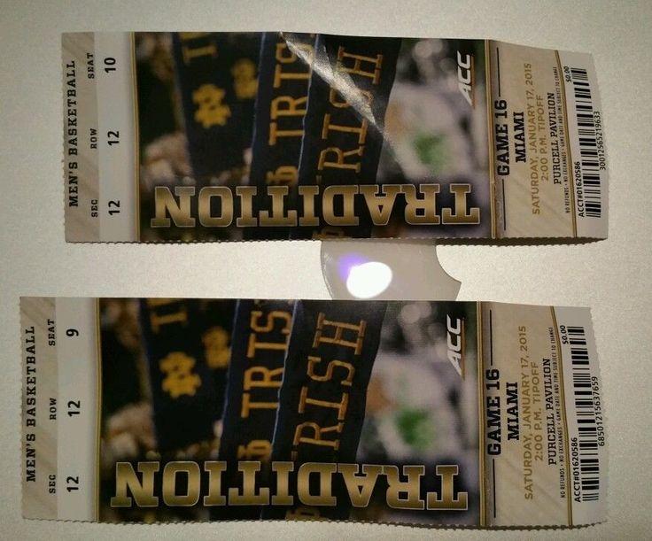 Notre Dame vs Miami Hurricanes Basketball Game Ticket Stubs (2) 1-17-15 ND Irish