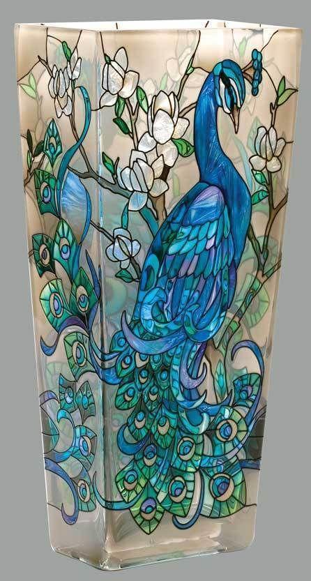 JOAN BAKER - HAND PAINTED GLASS LARGE VASE - PEACOCK in Home & Garden, Home Décor, Vases | eBay!