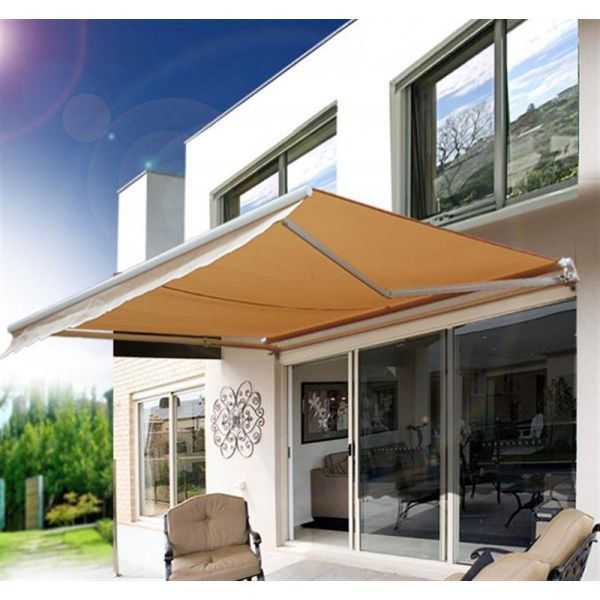 Outsunny 8 X 7 Manual Retractable Uv Protentant Sun Shade Patio Awning Cream Beige Patio Awning Patio Pergola Shade