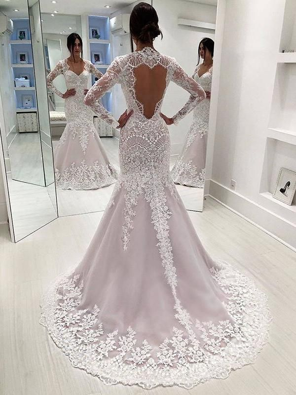 Stunning Lace Sequined Long Sleeve Mermaid Open Back Wedding Dresses, AB1514
