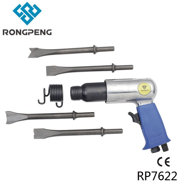 RONGPENG PROFESSIONAL AIR HAMMER WITH 4 Pcs LONG 175MM ROUND OR HEX CHISELS PNEUMATIC Hammer RP7622