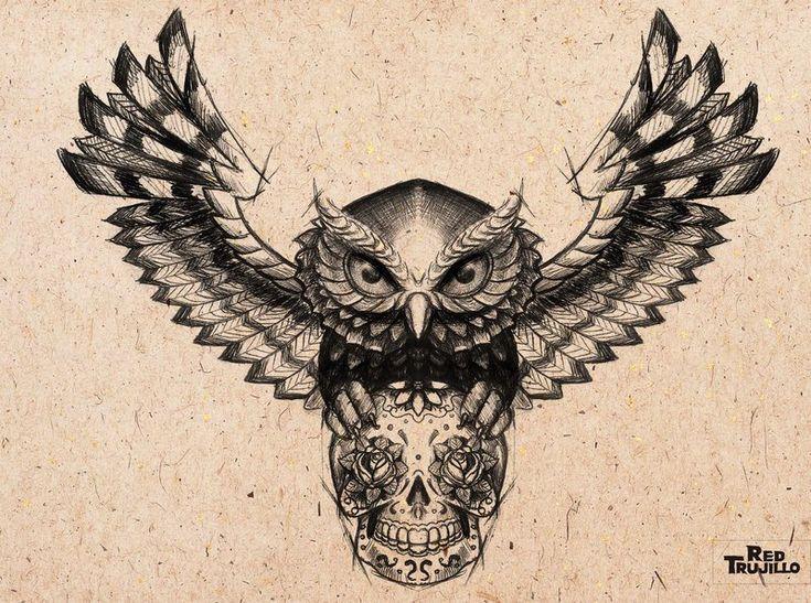 sugar skull tattoo designs | owl___sugar_skull_tattoo_design_for_brest_or_chest_by_redtrujillo ...