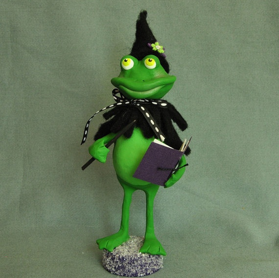 """""""When Spells Go Wrong"""" Frog witch art doll by A Piece of Lisa"""