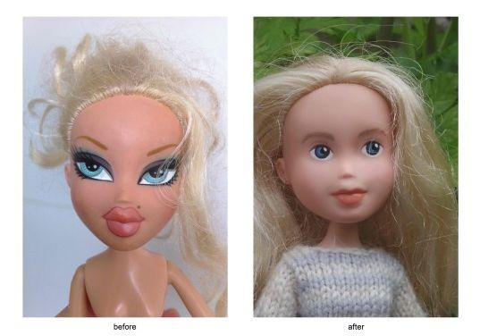 Tasmanialainen äitiSonia Singh halusi tehdä jotain pientä (mutta suurta) käytettynä ostetuille Bratz-nukeille, joiden naamoilla on sotamaalauksen kaltainen meikki. Hän maalasi nukkejen kasvot uudestaan, poisti valtavat huulet ja silmämeikit, ja neuloi...
