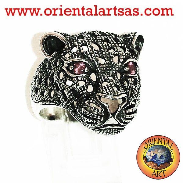 anello tigre con occhi di rubino
