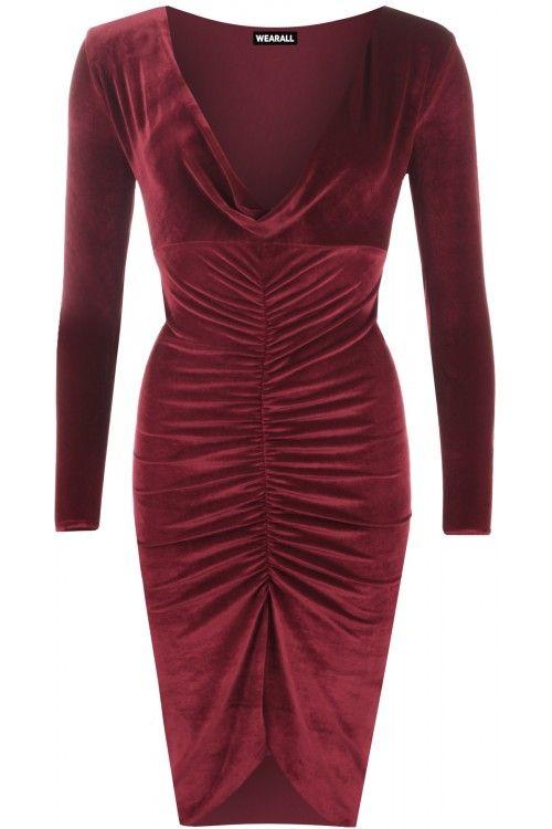 Nerissa Cowl Neck Velour Dress | Womens Dresses