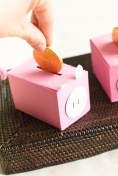 "DIY | ""Piggy Bank"" Favor Boxes"