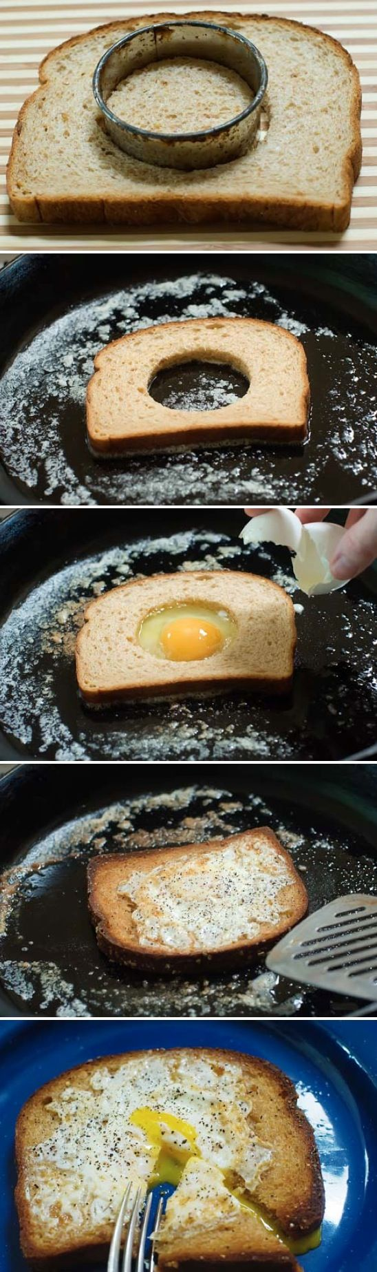 Egg In A Hole I'm really not sure why I've never thought to do this. It's definitely going to be my new favorite egg breakfast! This awesome idea from The Pioneer Woman only calls for bread, butter, eggs, salt and pepper. Easy! If you don't have a round cookie cutter, you could also improvise with knife.