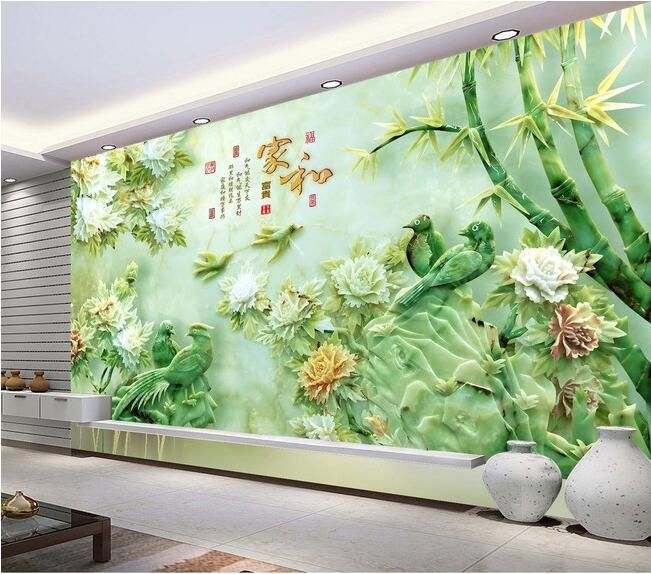3d обои на заказ росписи нетканого 3d зал обои 3d сороки нефрита бамбук ТВ установка стены картины 3d стены настенные обои