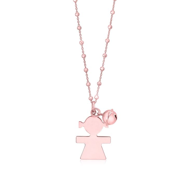 """Sterling Silver High Polished Large Girl Silhouette Figure All Rose Gold Plated Pendant Necklace Long Rolo Chain 30"""""""