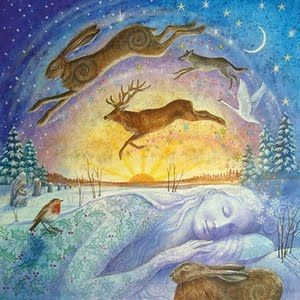 Art by Wendy Andrew | Gaia's Winter Rest http://www.paintingdreams.co.uk/image.php?name=gaias-winter-rest&gallery=yule_cards