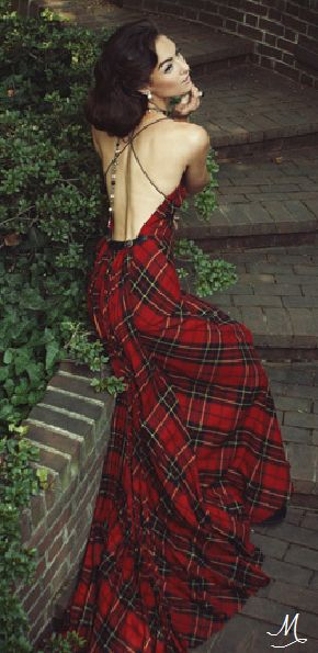 Bias-cut Brodie tartan gown with alligator detail, Michael Kaye Couture