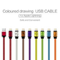 High Quality Colourful USB 2.0 Sync Charging Data Cable For Apple iPhone 5 5C 5S 6 6S iPad Mini Flat Noodle Data Line USB port