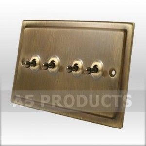 Toggle Light Switch-4 Gang-Victorian Antique Brass