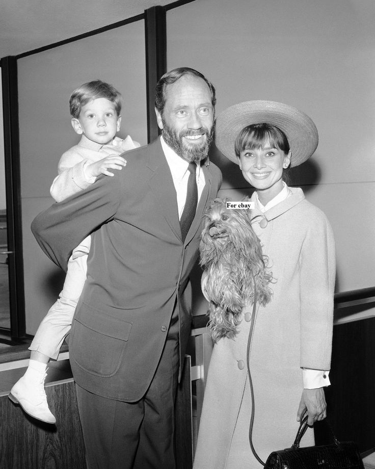 The actress Audrey Hepburn (holding Assam of Assam, her Yorkshire Terrier) photographed with her husband Mel Ferrer (actor, dialogue coach and film director) and their son Sean H. Ferrer after their arrival at the Los Angeles International Airport,...