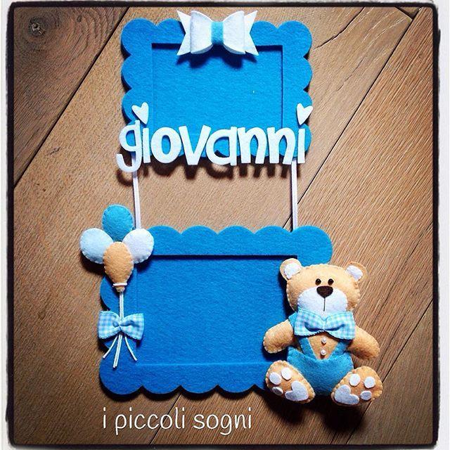 #portafoto #idea #idearegalo #neonato #bambino #baby #bebe #orsetto #teddy #fattoamano #fattodame #handmade #feltro #pannolenci #cucitocreativo #creativemamy
