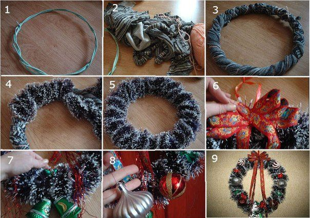 Как сделать простой рождественский венок из мишуры
