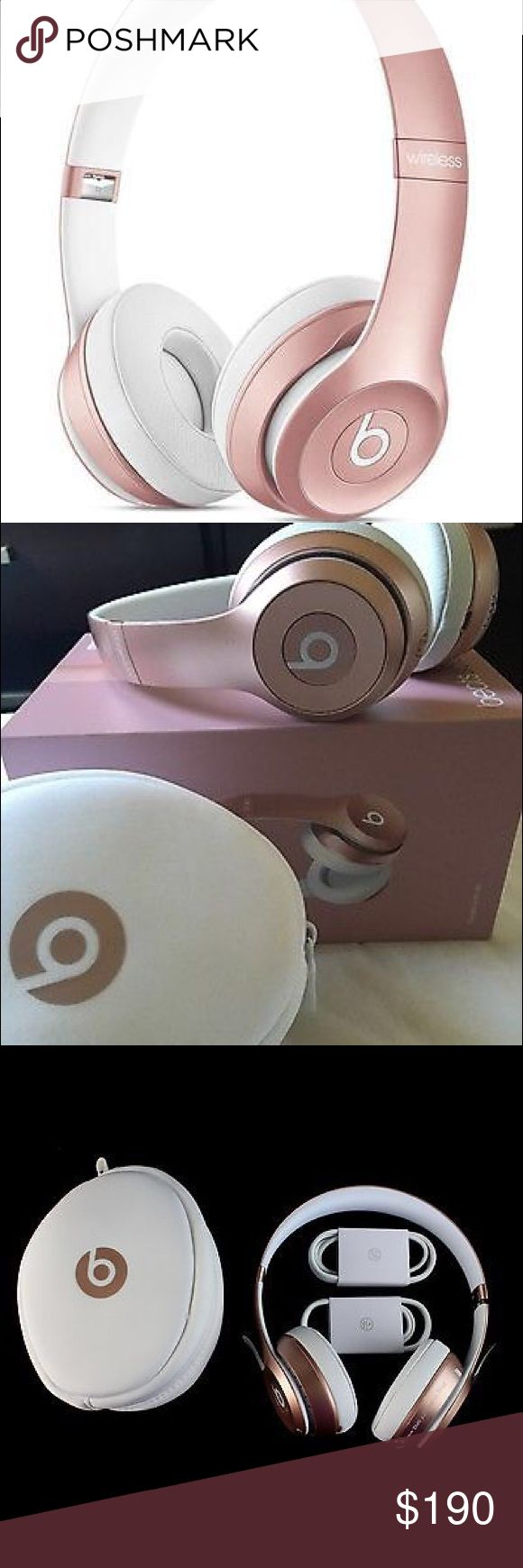 Beats solo wireless 2 Beats solo wireless 2, rose gold, brand new, in box, all accessories and head phones in perfect condition, retail price $299, my price 180, im selling them because I do not use them honestly, this price included shipping. Beats by dre, solo 2 wireless  Other