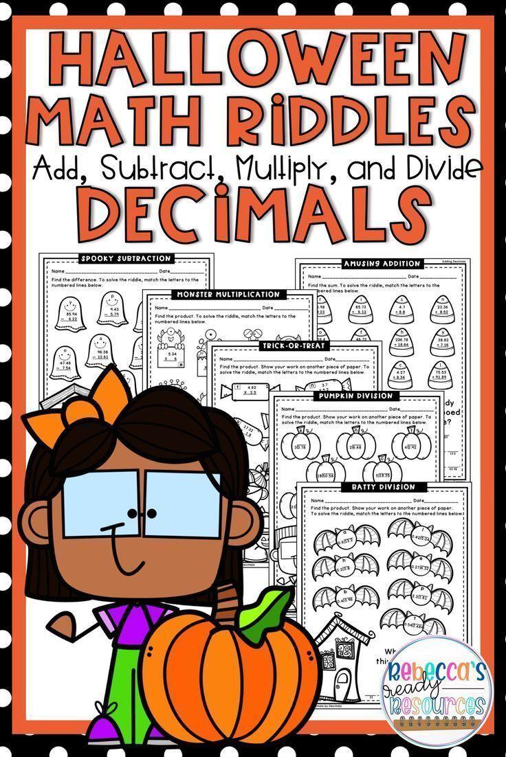 Halloween Decimals Math Riddles Math Riddles Halloween Math Halloween Math Activities [ 1102 x 736 Pixel ]