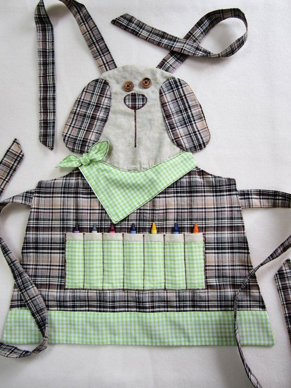 Kids Apron - PUPPY Crayon Craft Apron, Cooking Apron, Garden Apron - Made to Order - Available in sizes  3/4, 5/6, 7/8 on Etsy, $33.63