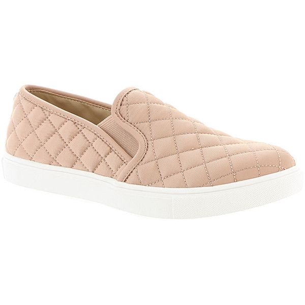 Steve Madden Ecntrcqt Women's Pink Slip On 7.5 M ($60) ❤ liked on Polyvore featuring shoes, sneakers, pink, slip-on shoes, pink trainers, slip on shoes, pull on shoes and quilted shoes