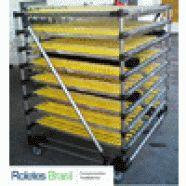 Os trilhos flow rack podem ser comercializados separados ou montados de acordo com a necessidade. As barras de alumínio são fabricadas com até 6.000mm, com rodízios em 04 cores: amarelo, preto, azul ou branco. Os trilhos flow rack são empregados em sistemas de prateleiras roletadas, transportadores de rodízio, guias laterais e outras cargas leves.