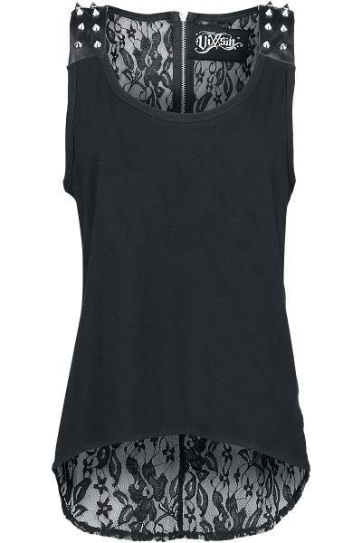 """Top nero """"Leena"""" di #Vixxsin con borchie applicate sulle spalle e retro in tessuto trasparente 100% poliestere."""