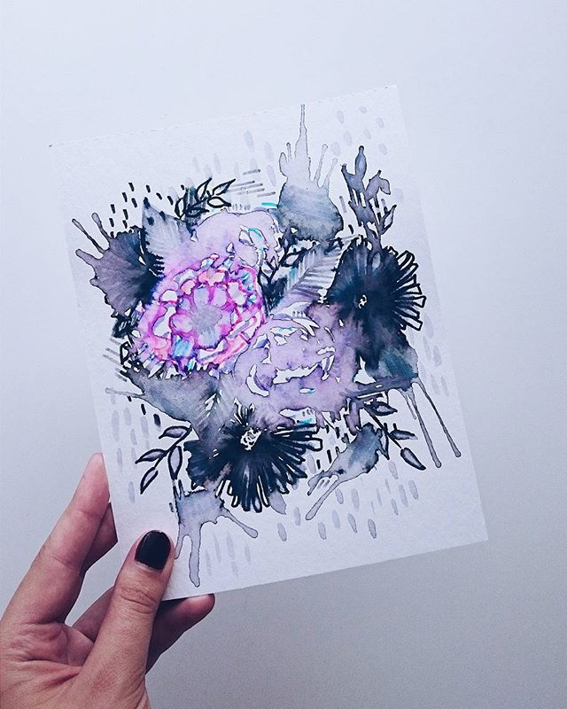 Flower power! 🌹💞 This illustration makes me happy 😻 Used felt tip pens and water ⛲ More on the blog!
