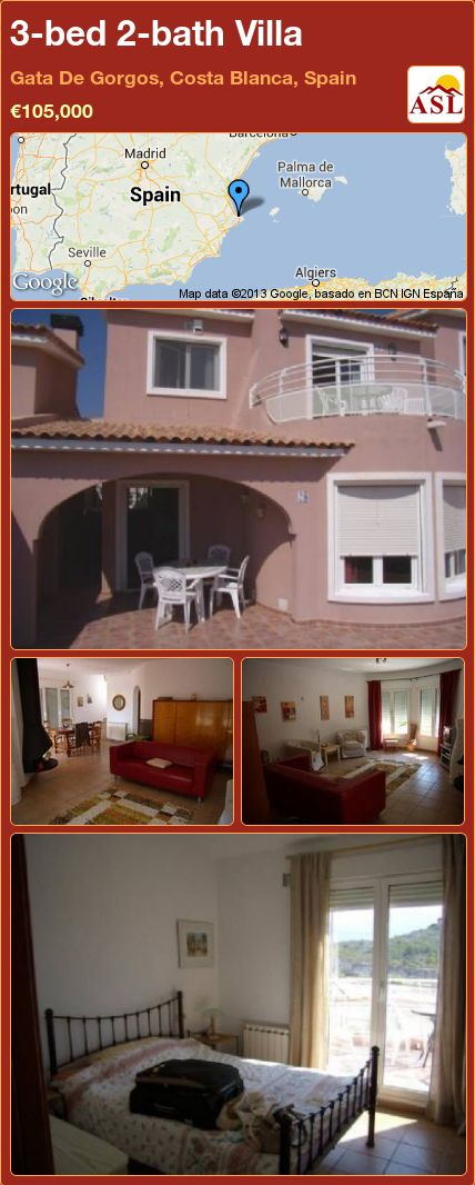 3-bed 2-bath Villa in Gata De Gorgos, Costa Blanca, Spain ►€105,000 #PropertyForSaleInSpain