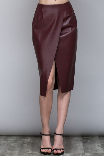 Ox Blood Leather Skirt