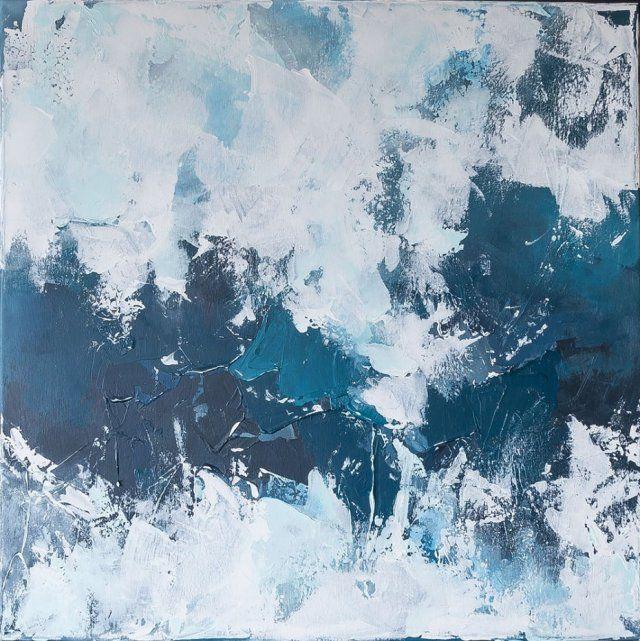 Śnieżyca 80x80 cm - ręcznie malowany obraz abstrakcyjny