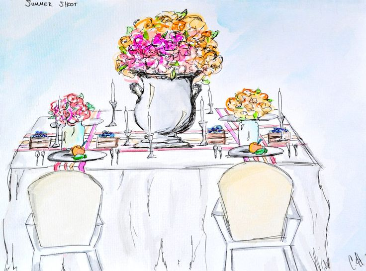 Summertime Wedding Table - Watercolor Sketches by CCuriosity