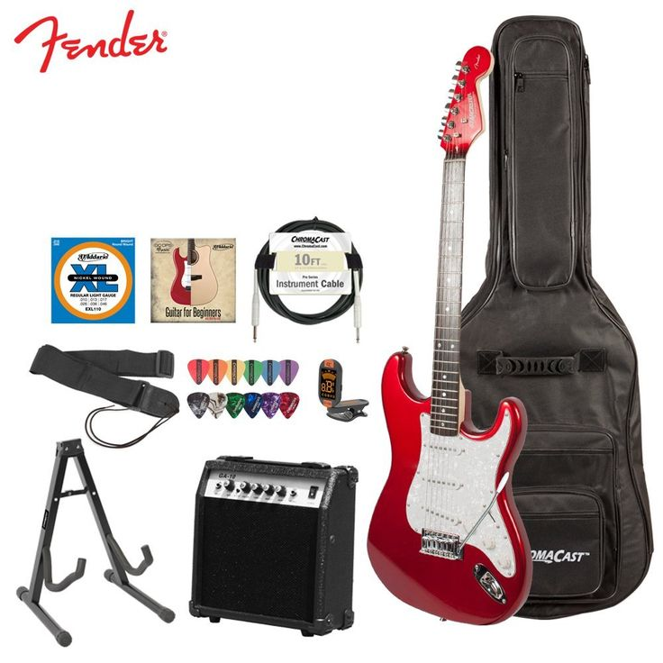 fender starcaster electric guitar pack with amp and accessories candy apple red. Black Bedroom Furniture Sets. Home Design Ideas