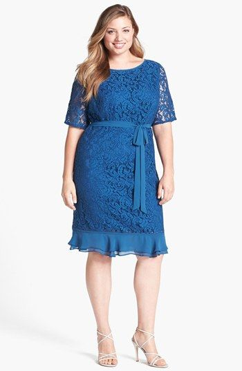 Adrianna Papell Ruffled Hem Lace Sheath Dress (Plus Size) available at #Nordstrom   http://www.noellesnakedtruth.com/