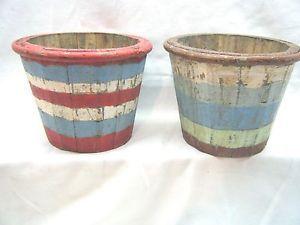 weathered basket | ... Weathered-Round-Basket-Pail-Wood-Wooden-Bucket-Fruit-Flower-Basket