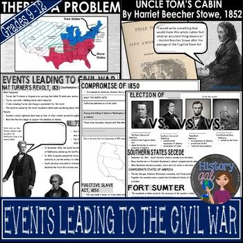 Events Leading to the Civil War Power Point Presentation - Use this 70+ page resource with your 8th, 9th, 10th, 11th, or 12th grade classroom or homeschool students. These topics are addressed - Nat Turner's Revolt, Nullification Crisis, Presidential Elections of 1848 1852 1856 and 1860, Henry Clay & the Compromise of 1850, Fugitive Slave Act, Uncle Tom's Cabin, Stephen Douglas, Kansas-Nebraska Act, Establishment of the Republican Party, & more. Middle School and High School appoved