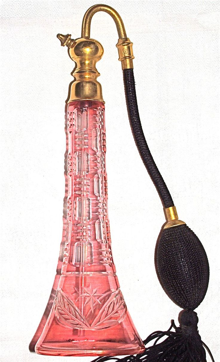 Baccarat Atomizer - French Cranberry Glass Cut-to-Clear Crystal - Marcel Franc Hardware Perfume Bottle