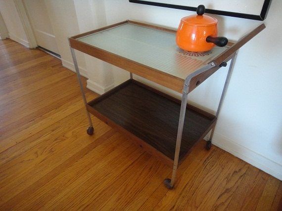 60's Retro Modern Buffet Bar Cart with Heated Tray by #housecandyla