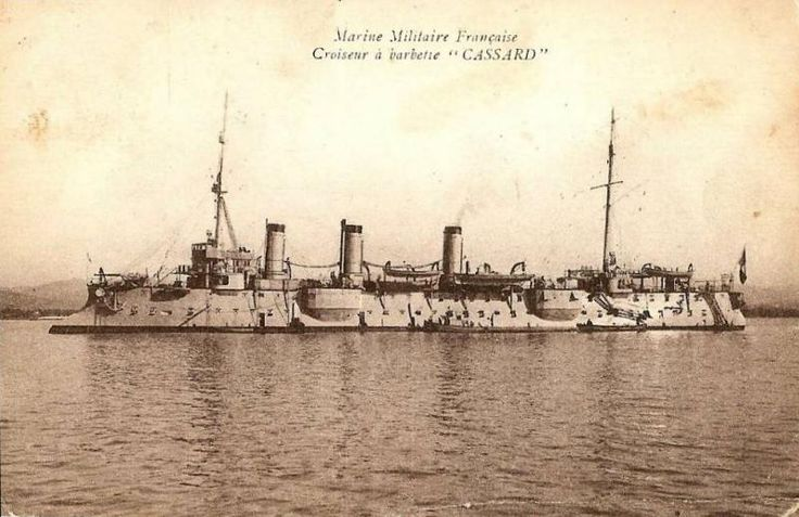 CASSARD (1896). 3890t D'Assas class protected cruiser. Armed with 6-6.4in/45 QF M1893 and 4-3.9in/45 QF M1893. Armoured deck up to 2.8in on the flat and 4in on slopes.