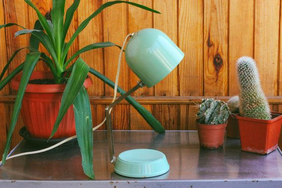 Soviet Desk Lamp / Mint Green USSR Vintage by MonstersOverTheSea