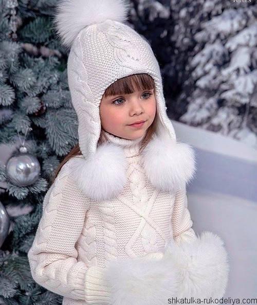 шапка с длинными ушками спицами модная шапка для девочки спицами