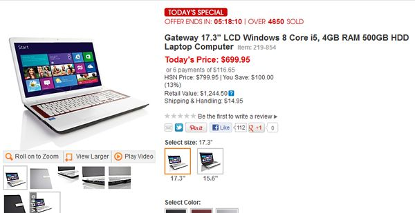 Windows 8 devices are already on sale on the online shopping website