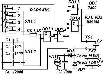 Miraculous Capacitance Meter Based On Logic Gates This Simple Capacitance Meter Wiring Digital Resources Indicompassionincorg