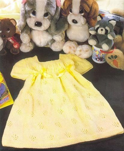 Вязаные желтое платье на детей