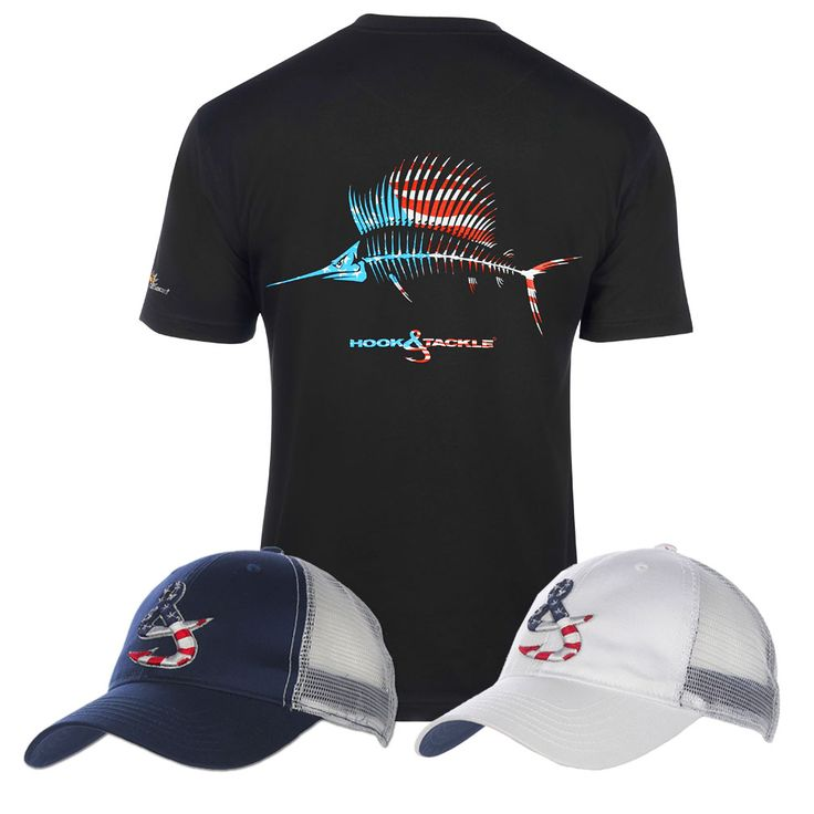American sail UV Tee with the new Old Glory Trucker Hats