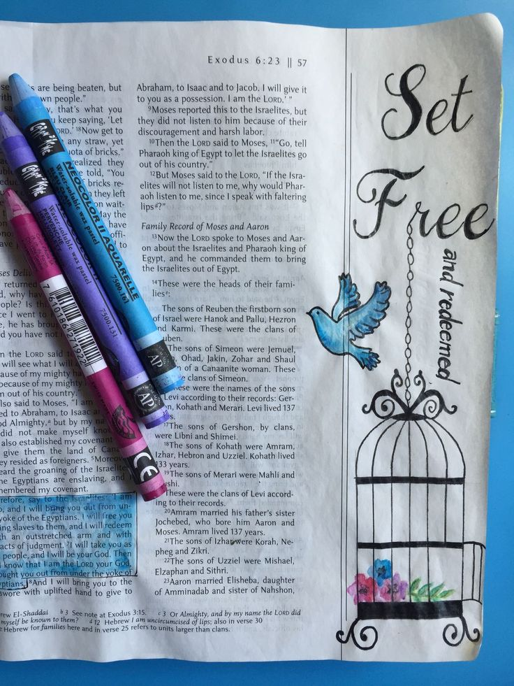 Illustrated Faith, Bible Art Journaling, Exodus 6:6-7 God set the Israelites free from slavery and redeemed them as He does us.By Lynn Egigian…