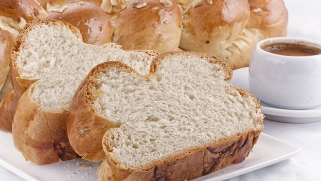 Tsoureki is a Greek sweet bread traditional made and served at Easter.  Its available 365 days a year in our shop!